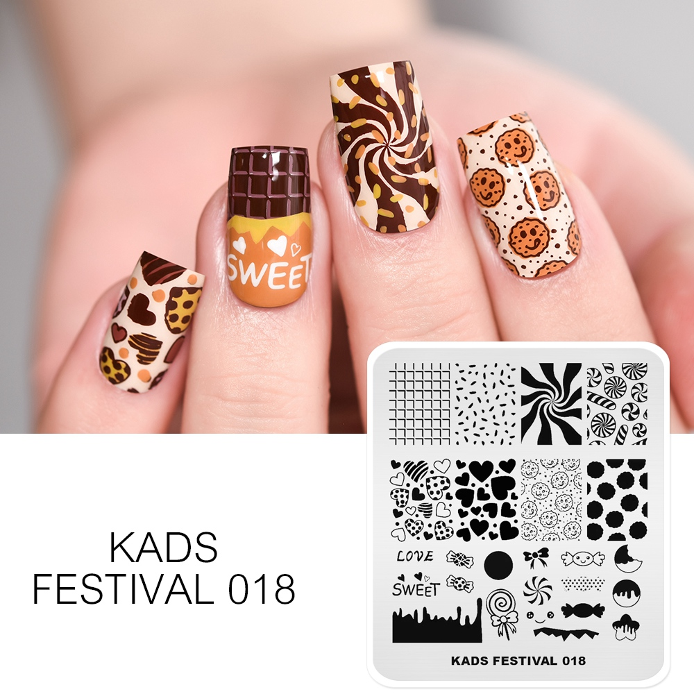 KADS Nail Stamping Template Valentine's Day Heart Candy Design Nail Stamping Plates Stainless Steel Nail Stencil Print DIY Tool