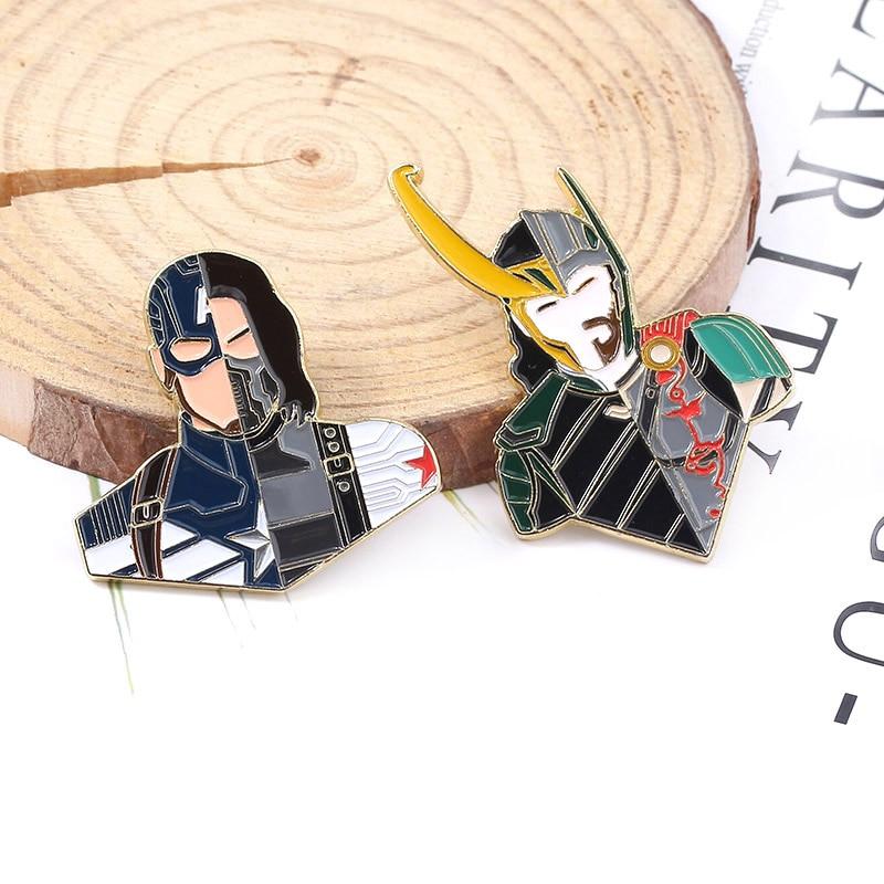 Los Vengadores creativo Empalme Pins Broches Bucky Barnes Thor