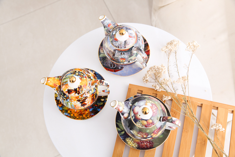 wedding kitch High-grade Bone China Creative mother pot afternoon tea pot flower tea set British coffee pot Cup pot set