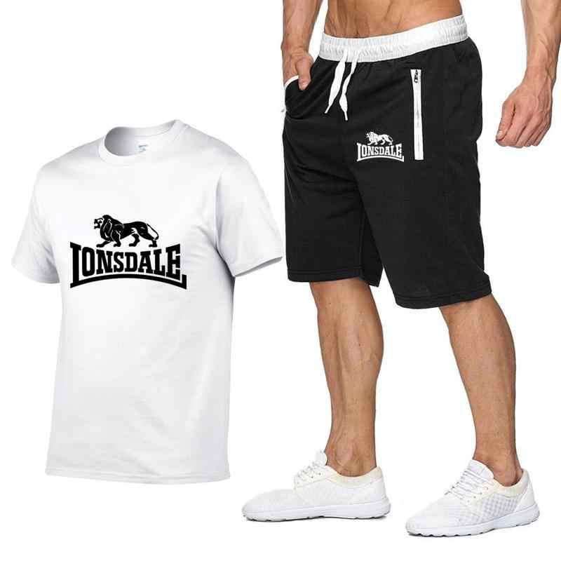 Erkekler yaz LONSDALE spor setleri kısa kollu T-shirts + kısa pantolon yeni moda erkekler rahat setleri şort + t-shirt 2 adet