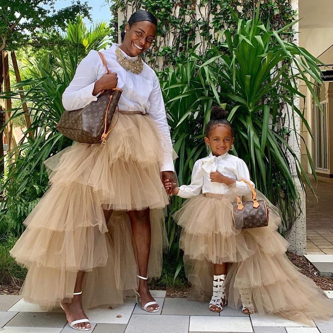 Chic Cute Champagne Ruffles High Low Little Girl Party Skirts Puffy Tiered Tutu Flower Girls Dress Custom Made