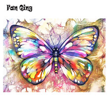 5D DIY round/square Diamond Painting Color butterfly Diamond Embroidery Cross Stitch Kit Wall Sticker Home decoration(China)