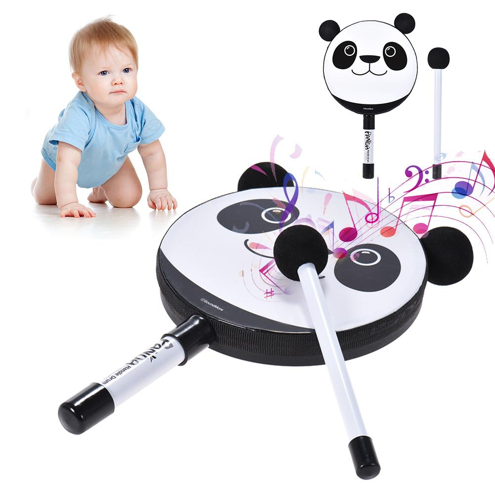 Cartoon Panda Handheld Tambourine Drum Mallet Percussion Instrument Kids Toy
