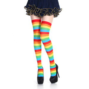 Women Girls Fancy Rainbow Colorful Stripes Over Knee Long Socks Halloween Cosplay Costume Knitted Stretchhy Thigh High