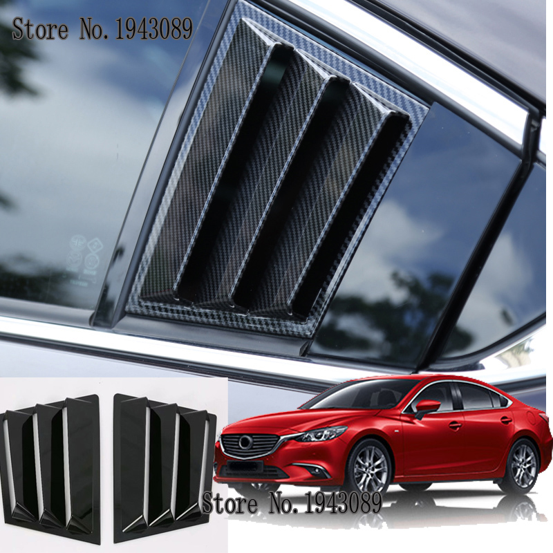 for <font><b>Mazda</b></font> <font><b>6</b></font> m6 Atenza 2017 2PCS ABS Carbon fiber Black RED ABS <font><b>Rear</b></font> Window Quarter Louver <font><b>Cover</b></font> Car Styling Accessories 2PCS image