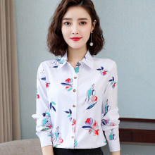 Korean Women Shirts Chiffon Blouses for Women Long Sleeve Shirt Office Lady Print Shirts