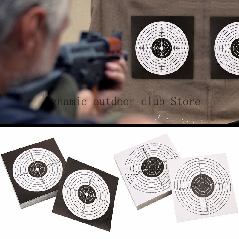 Totrait 100pcs/Pack 14x14cm Shooting Targets Paper Sticker Black White Top Quality Air Rifle Pistol Shooting Targets Paintball A