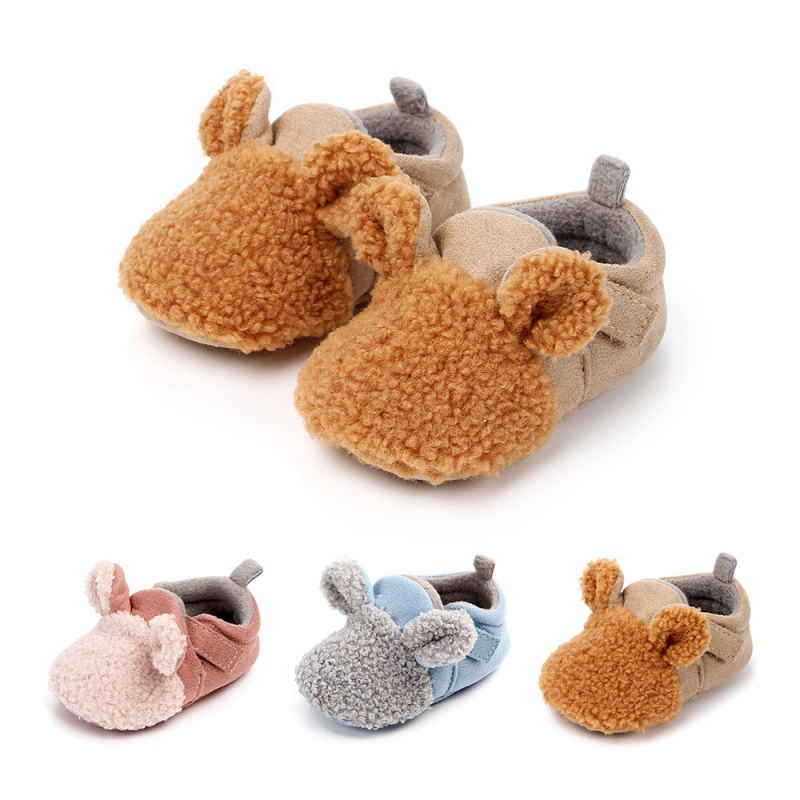 New Born Boy Girls Toddler First Walkers Baby Shoes Round Toe Flats Soft Slippers Shoes Winter Baby Warm Soft Sole No-slip Shoe