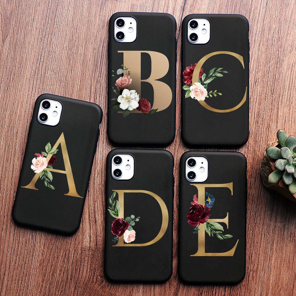 PUNQZY 26 lettres anglaises étui pour iphone souple en ptu 11 PRO MAX 7 6 6S Plus X XS MAX XR marbre givré fleurs Anti-chute étui en ptu
