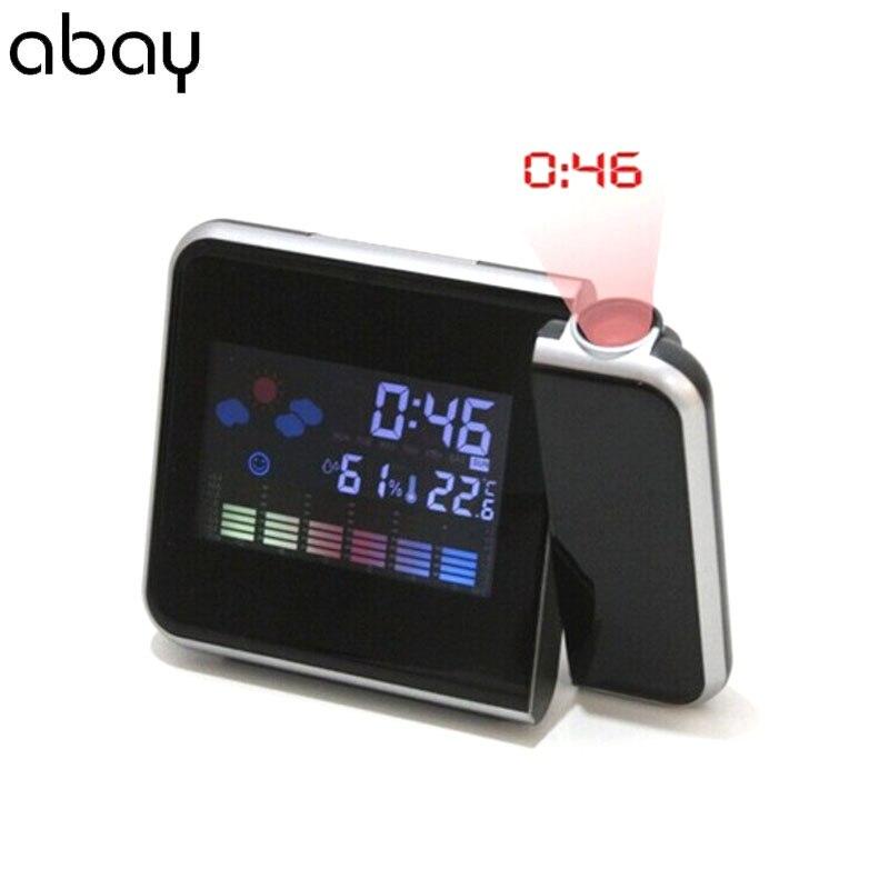 LED Réveil Numérique Montre Électronique de Table Bureau Horloges Heure de Réveil Projecteur Fonction Snooze Прогноз погоды Будильник