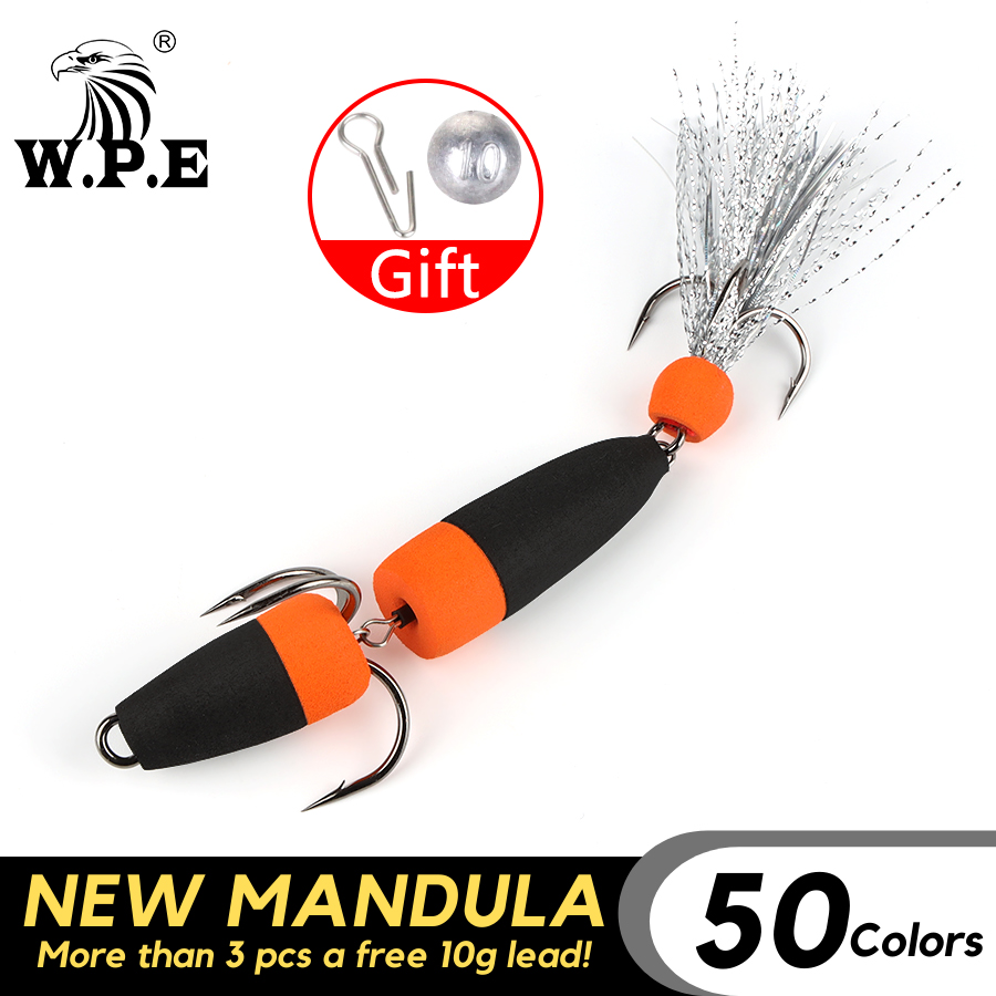 W.P.E Brand NEW MANDULA Size L 1 Pcs Fishing Lure SwimBait 50Color Bass Lure Insect Bait Soft Fishing Lure Pesca Fishing Wobbler