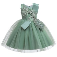Flower Girls Dresses Illusion Sleeveless O-Neck Appliques Tulle Embroidery Knee-Length Luxury Lace Kids Party Princess Gown F465