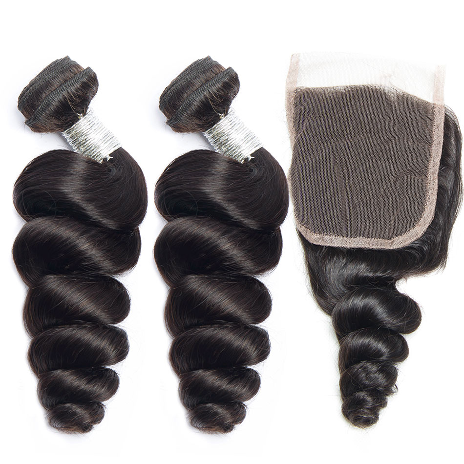 Peruvian Loose Wave Bundles With Closure 100 Human Hair 3 Bundles With Middle Parting Lace Closure Remy Hair Extension 4Pc Lot