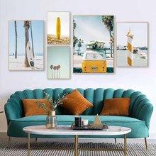 Современный плакат с пляжным пейзажем желтая Картина на холсте