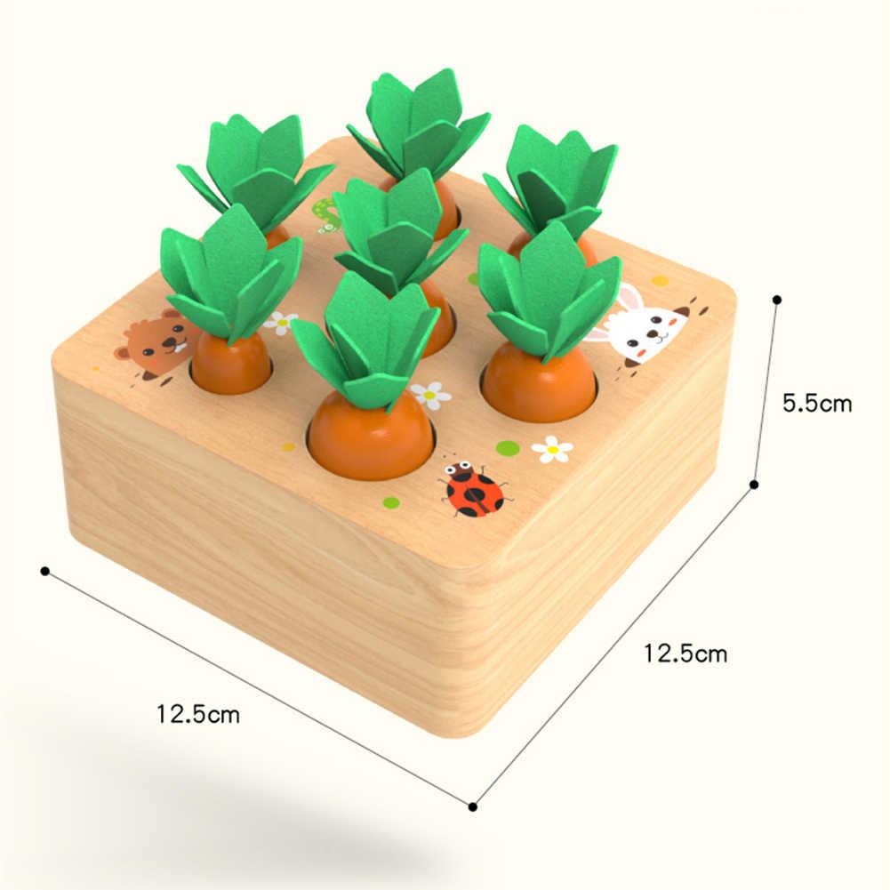 Bloco de madeira puxando cenoura jogo crianças montessori brinquedo bloco conjunto cognição capacidade alpinia brinquedo interativo