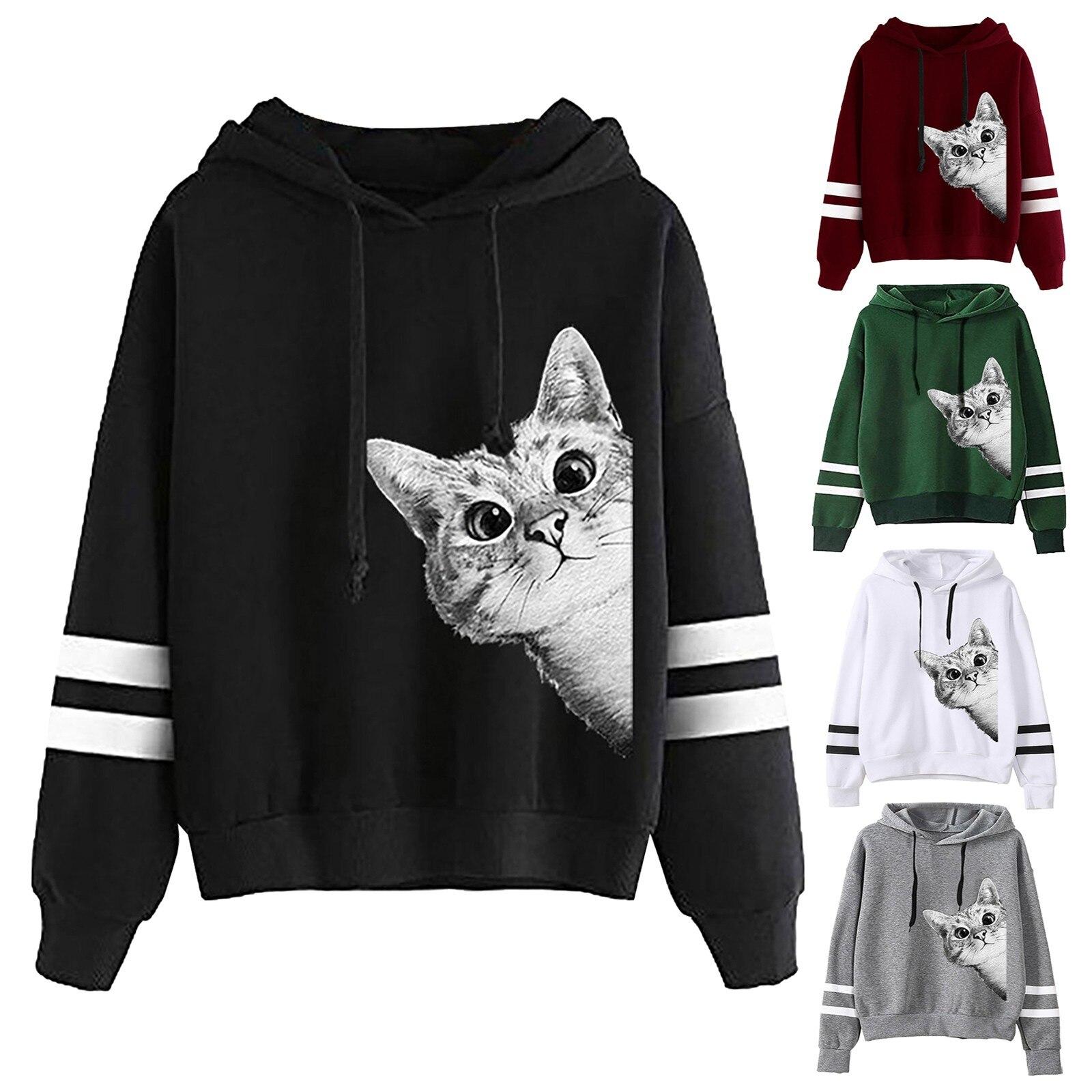 Милый кот печати Топы с длинным рукавом в полоску с принтом джемпер свитер с капюшоном пуловер Топы пот Femme уличная Толстовка Bluzy
