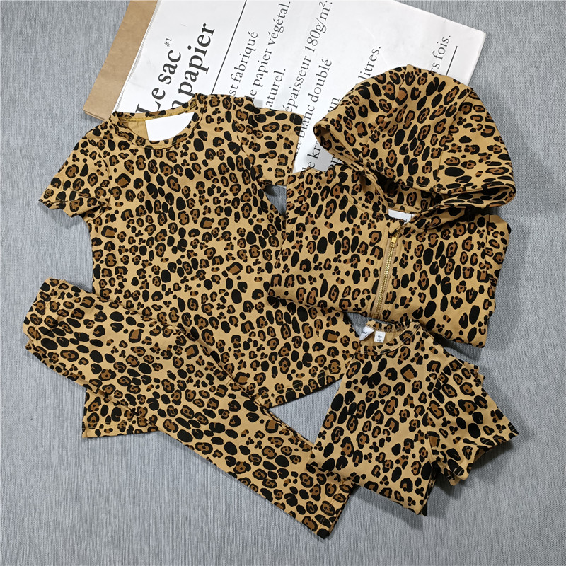 Spring and Summer 2021 new boys and girls Leopard print t-shirt dress leggings hoodie jacket 1