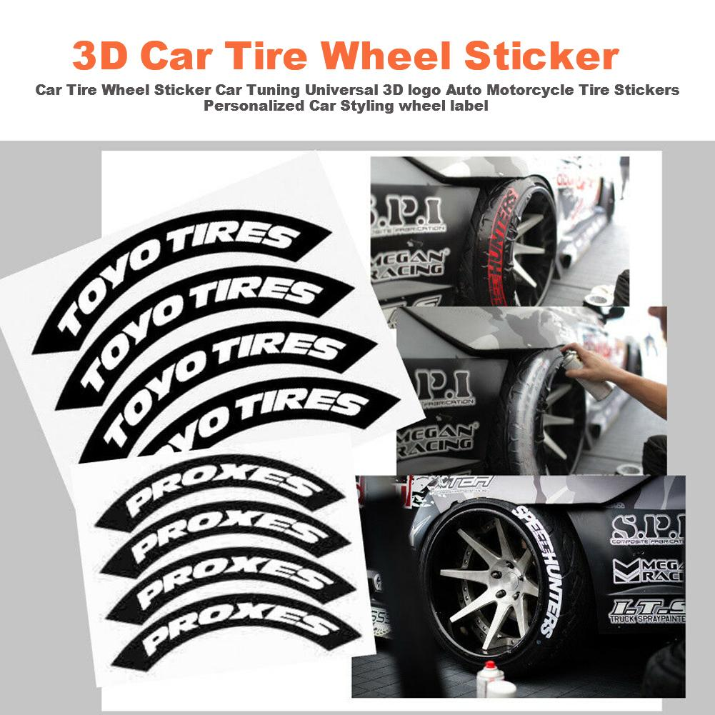 1 Pcs Car Universal Personality Sticker Wheel Rubber Sticker Auto Motorcycle Bike Wheel Tire Sticker English Letters Sticker