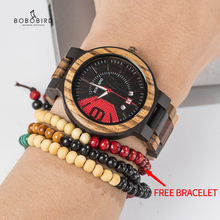 BOBO BIRD New Military Design Unique Dail Auto Date Colorful Wood Band Wristwatch Fathers Day Gift Grooms Relogio Masculino