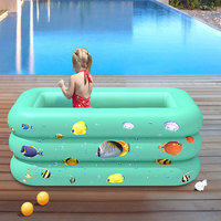 120/130CM Inflatable Swimming Pool Rectangular Thicken PVC Paddling Pool Bathing Tub Outdoor Summer Swimming Pool For Kids