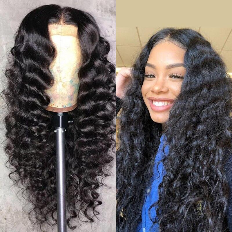 180 Density Brazilian Loose Deep  Human Hair Lace Closure Wig Hair 4x4 8-22 Inch Long Wave Closure Lace Wigs For Black Women