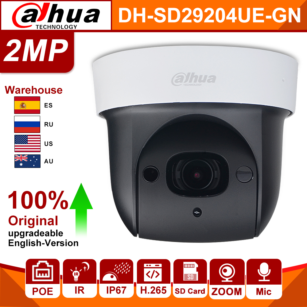 Original Dahua PTZ DH SD29204UE GN 2MP POE 4X ZOOM Built in MIC 30M Starlight WDR IVS Face Detect IP Camera replace SD29204T GNSurveillance Cameras   -