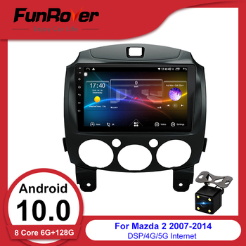 FUNROVER android 10.0 car 2 DIN dvd multimedia player For Mazda 2 mazda2 2007-2013 radio gps navigation stereo DSP 2.5D+IPS 128G image