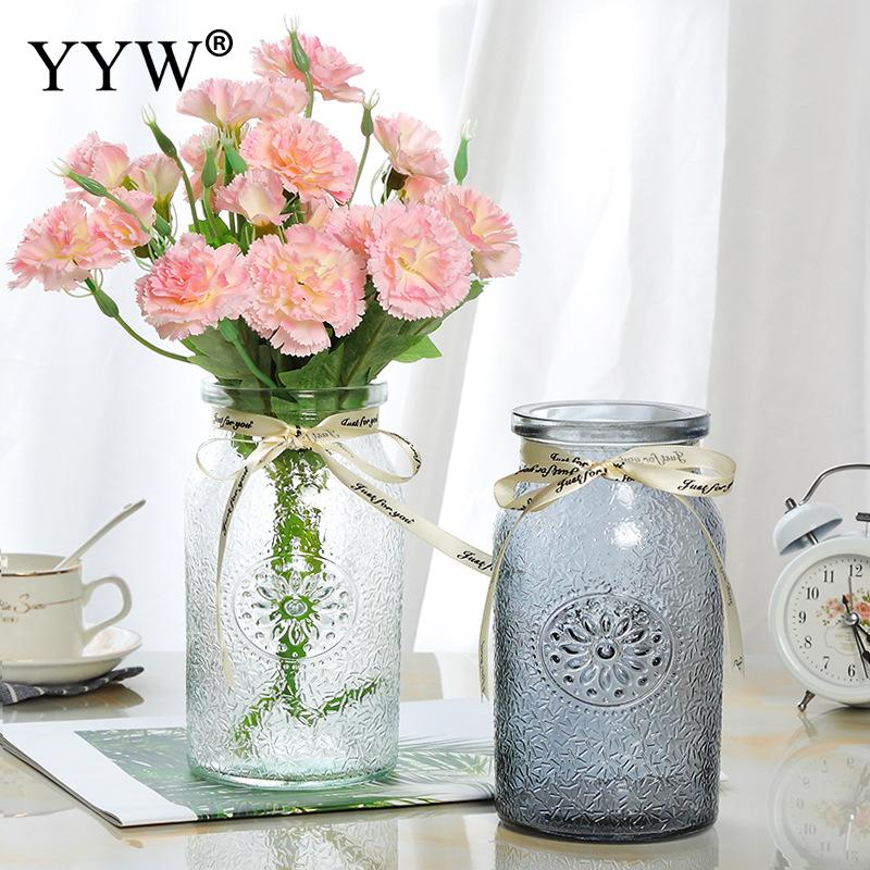 Artificial Flowers Vase For Wedding Plants Colorful Glass Vases Home Decor Flower Bouquet Wedding Table For Home Decoration Vases Aliexpress