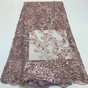 African sequin lace fabric high quality French tulle lace in peach color factory price for women dress 5yard / lotPLN-027