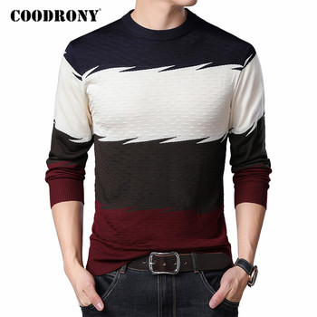 COODRONY Brand Sweater Men Spring Autumn Knitwear Cotton Pullover Casual O-Neck Pull Homme Fashion Colorful Striped Shirt C1067 coodrony brand wool sweater men streetwear fashion striped pull homme spring autumn casual knitwear v neck pullover shirts c1089
