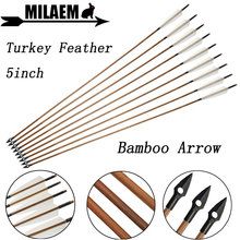 6/12pcs 83cm Archery Bamboo Arrow OD8mm 5inch Turkey Feather Traditional Arrowhead Compound Recurve Bow Shooting Accessories