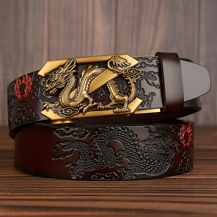 New Cow Leather Belt For Mens Z Dragon Automatic Ratchet Belts Luxury Genuine Leather Straps Designer Men For Jeans Girdle Male