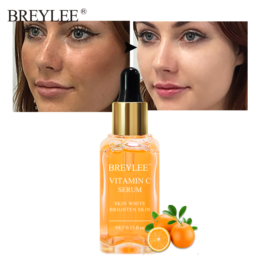 BREYLEE Serum Natural Vitamin C Brighten Face Skin Care Fade Dark Spots Freckle Anti-Aging Whitening 15ml