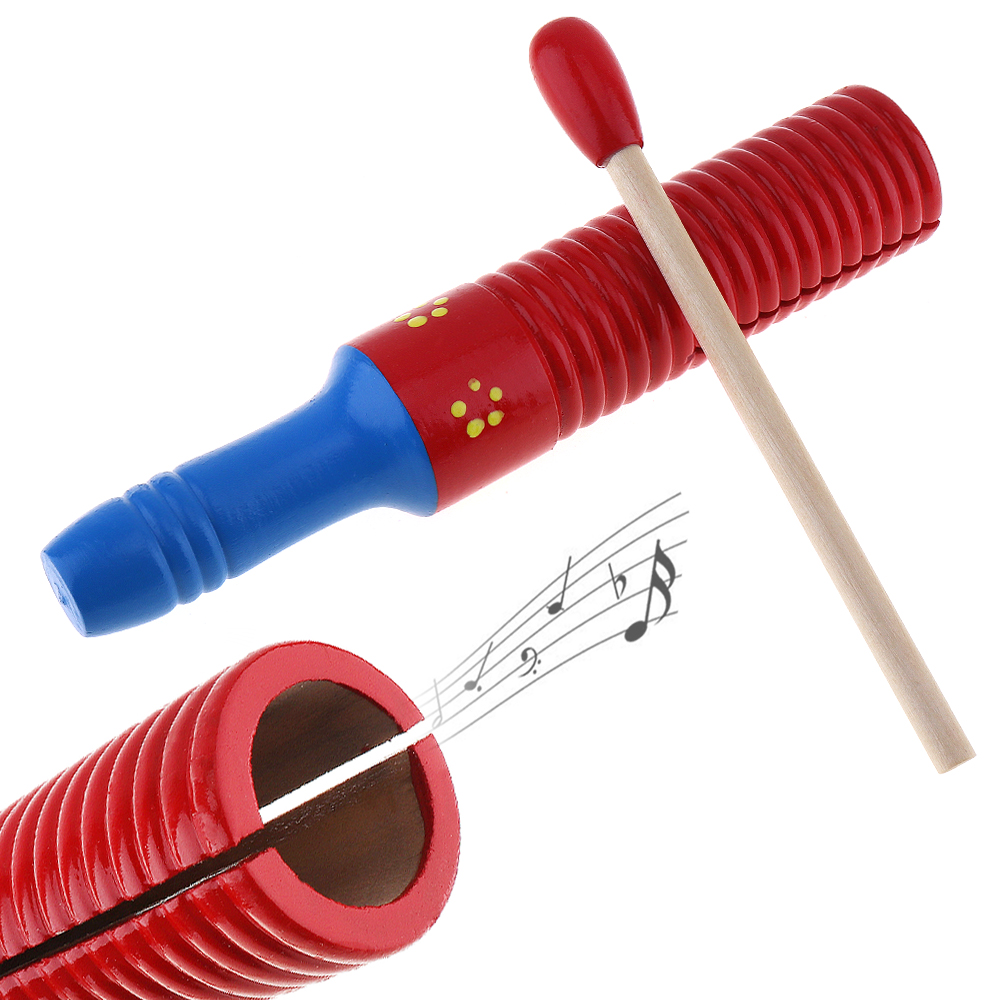 Colorful Sound Tube Wooden Crow Kid Children Gift Wood Sounder Musical Toy Percussion Education Instrument With Stick