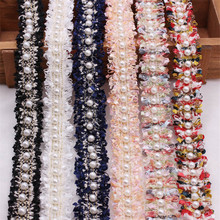Lazo de encaje bordado con cuentas de perlas doradas y nailon, accesorio Vintage, tejido embellecedor, hecho a mano, artículos de costura artesanal, DIY, 1 yardas/lote