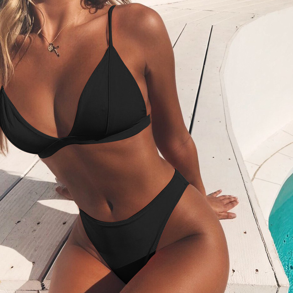 Sexy Black Micro Bikini Set Women 2 Pieces Swimsuit Swimwear Push Up Padded Bra Thongs Biquini Bathing Suit Beachwear