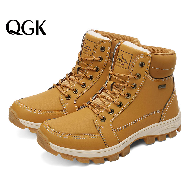 QGK 2019 Men'S Winter Snow Boots Fur Ankle Warmth Boots Men Casual Shoes High Quality Plush Men Outdoor Work Shoes Plus Size 45