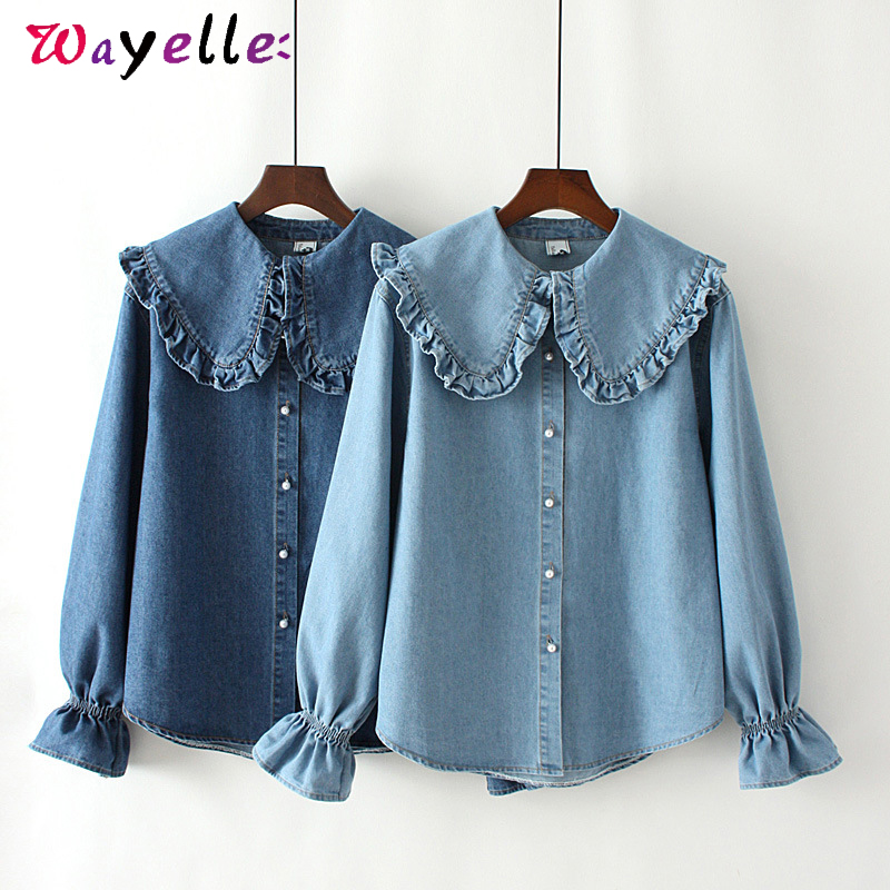Ruffles Sweet Denim Women Shirts Autumn Basic Causal Long Sleeve Denim Women Blouses Blue Fashion Loose Korean Top for Girl