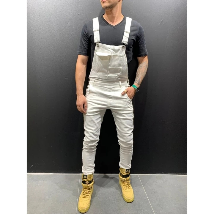 Men Pants The New Type of Men's Casual and Slim Trousers with Multi-pockets and Suspenders Are Woven One-piece Men's Trousers