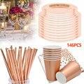 146 Stuks Rose Gold Party Wegwerp Servies Set Festival Papier Cups Platen Rietjes Tafeldecoratie Bruiloft Verjaardagslevering
