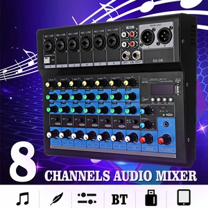 Claite 8 canais som mixer console 48v microfone digital bluetooth poderoso profissional karaoke áudio mixer amplificador festa