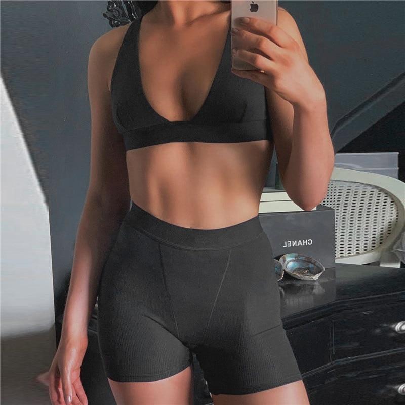 2PCS/Set Sexy Women Sleeveless Strap Bra Bustiers Tank Vest Crop Tops High Waist Shorts Pants Trousers Tracksuit Summer 2021 4