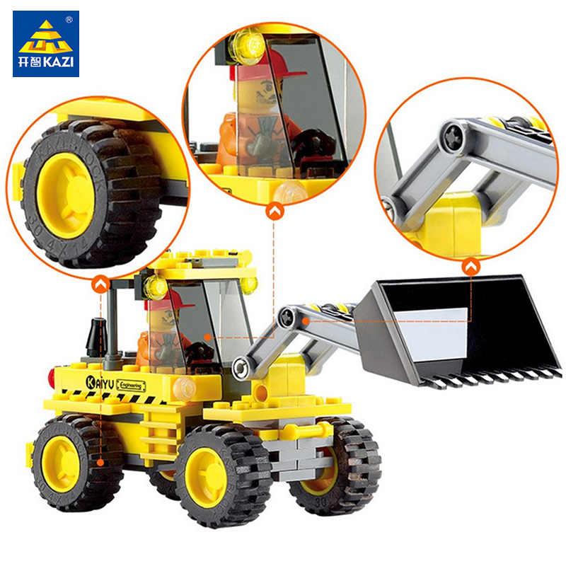 Anak-anak Mainan untuk Anak Kazi Creator Blok Bangunan Batu Bata Model Mobil Creator untuk Anak Laki-laki City Bulldozer 117 Pcs