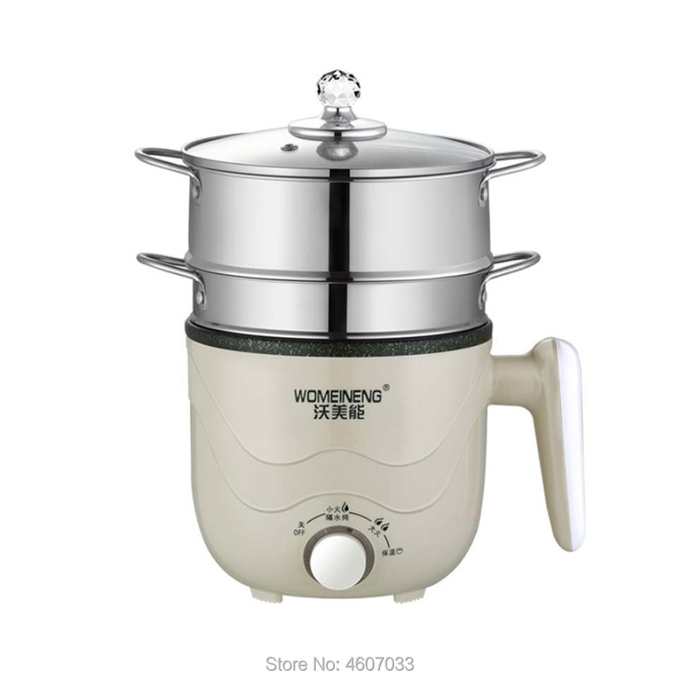 220V Mini Multifunctional Electric Cooking Pot Machine Fried/steamer Layer Heat Preservation Hot Pot Multi Cooker Non-stick Pan