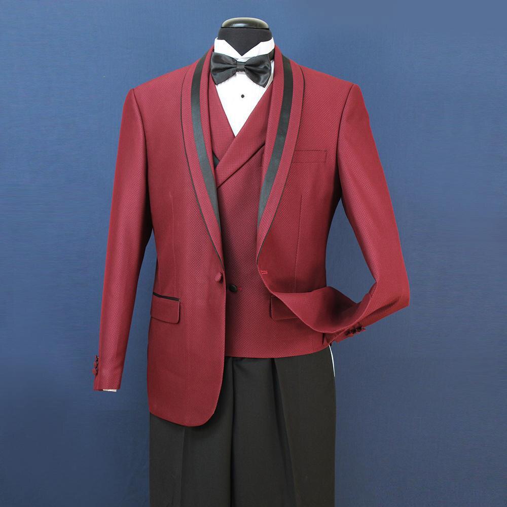 In Stock Mens Formal Wedding Suits Groom Groomsmen Tuexdos Business Wear Shawl Lapel 3 Pi,eces (Jacket+Vest+Pants)