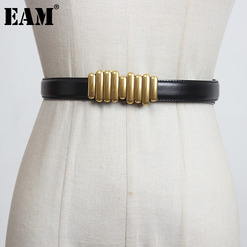 [EAM]  Pu Leather Long Green Multicolor Irregular Belt Personality Women New Fashion Tide All-match Spring Autumn 2021 1DD1460