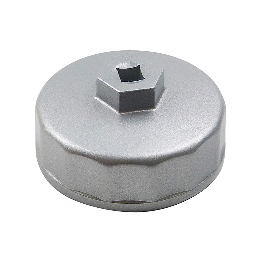 Cyleto 74mm 14 Flutes Oil Filter Cap Wrench Car Socket Remover Tool Socket Cap Removal Wrench for Benz