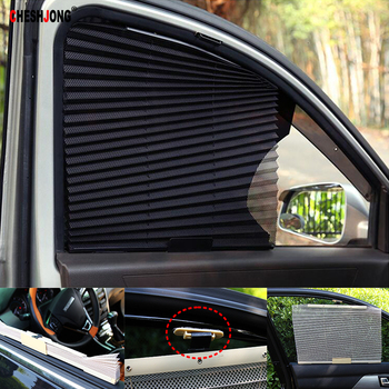 Car SUV Auto Retractable Nylon Mesh Black Car Side Window Curtain Sunshade Sun Visor Cover Rollers Blinding Shade image