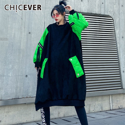 CHICEVER Patchwork Hit Color Women's Sweatshirt O Neck Lantern Sleeve Oversize Loose Pullovers Female 2020 Fashion Clothes New