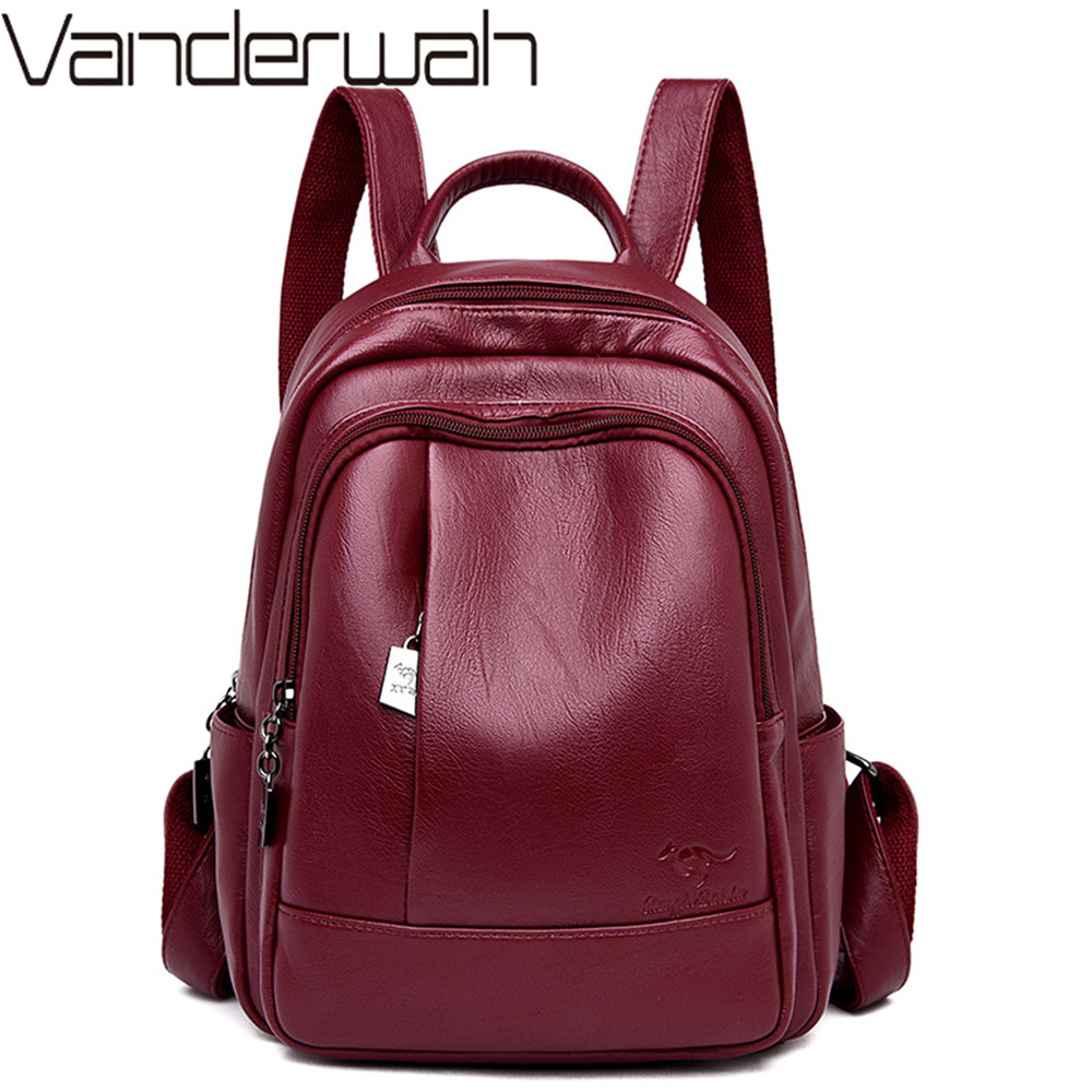 New Classic Women Backpack High Quality Leather Backpacks School Bags For Teenage Girls Bagpack Mochila Feminina Sac A Dos Femme
